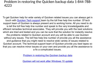 Quicken Technical Support 1-844-788-4223