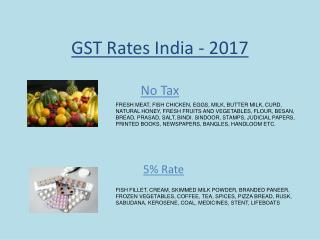 GST Tax Rate- India-Goods and Services Tax in India