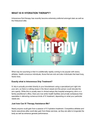 WHAT IS IV HYDRATION THERAPY?