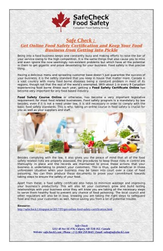 Online Food Handling & Safety Certification