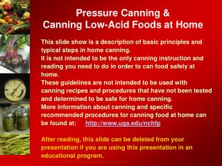 Pressure Canning  Canning Low-Acid Foods at Home
