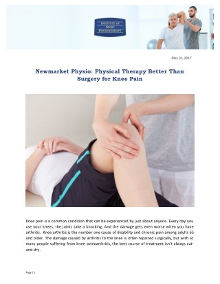 Newmarket Physio: Physical Therapy Better Than Surgery for Knee Pain