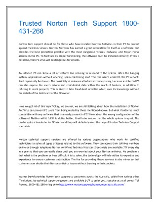 Trusted Norton Tech Support 1800-431-268