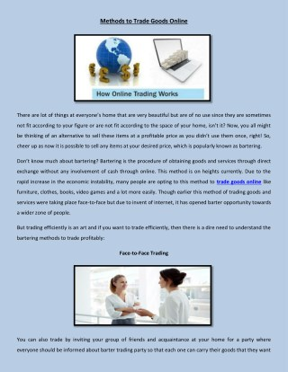 Method to Trade Goods Online