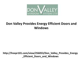 Don Valley Provides Energy Efficient Doors and Windows