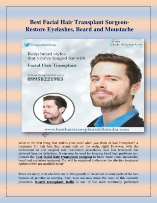 Best Facial Hair Transplant Surgeon-Restore Eyelashes, Beard and Moustache