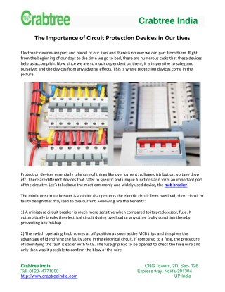 The Importance of Circuit Protection Devices in Our Lives