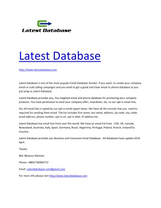 Latest Email Database provider