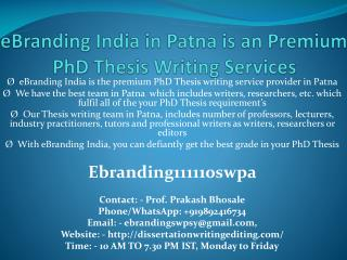 eBranding India in Patna is an Premium PhD Thesis Writing Services