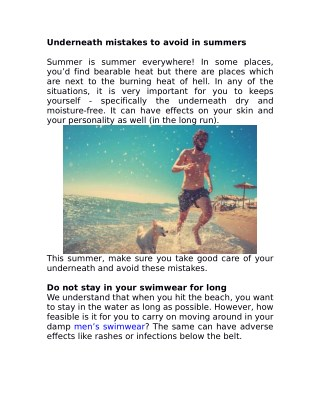 Underneath mistakes to avoid in summers