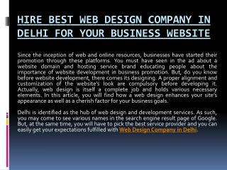 Hire Best Web Design Company in Delhi for Your Business Website