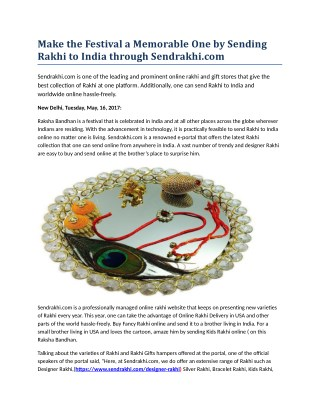 Send Online Rakhi to India Propel Sendrakhi.com