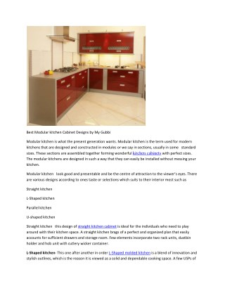 Best Modular kitchen Cabinet Designs by My Gubbi