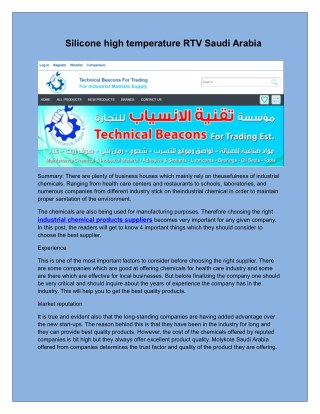Silicone high temperature RTV Saudi Arabia