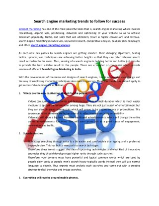 Search Engine marketing trends to follow for success