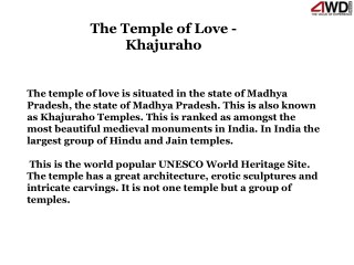 The Temple of Love - Khajuraho
