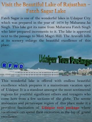 Visit the Beautiful Lake of Rajasthan – Fateh Sagar Lake