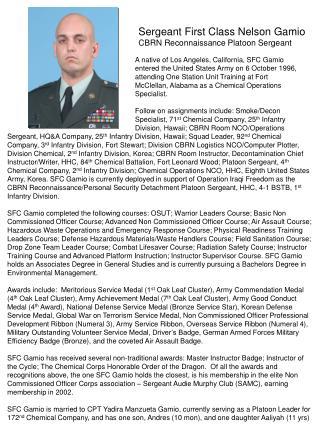 Sergeant First Class Nelson Gamio CBRN Reconnaissance Platoon Sergeant