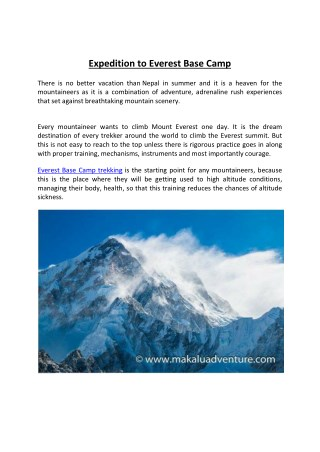Expedition to Everest Base Camp