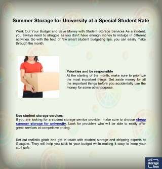 Summer Storage for University at a Special Student Rate