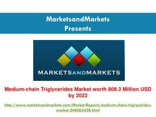 Medium-chain Triglycerides Market worth 809.3 Million USD by 2022