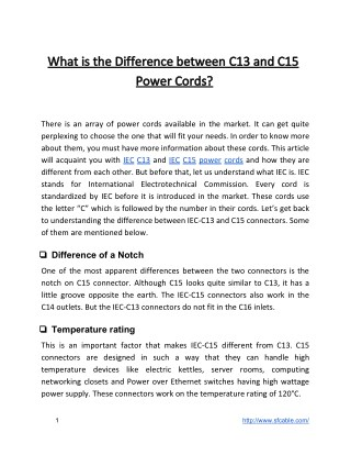 What is the Difference between C13 and C15 Power Cords?