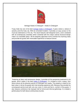 Heritage Hotels In Chittorgarh - Hotels In Chittorgarh