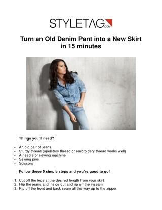 Turn an Old Denim Pant into a New Skirt in 15 minutes