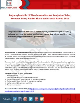 Polyacrylonitrile UF Membranes Market Analysis of Sales, Revenue, Price, Market Share and Growth Rate to 2021