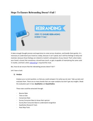 Steps To Ensure Rebranding Doesn't Fail ! It