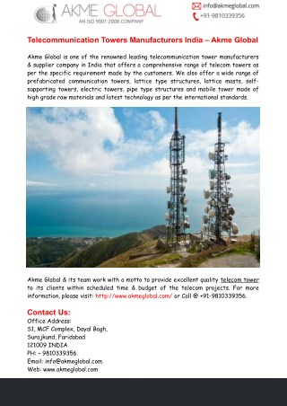 Telecommunication Towers Manufacturers India– Akme Global