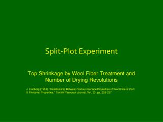 Split-Plot Experiment