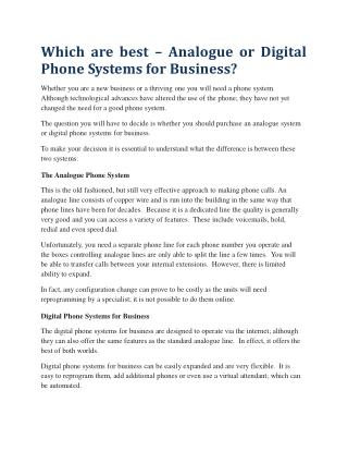 Which are best – Analogue or Digital Phone Systems for Business?