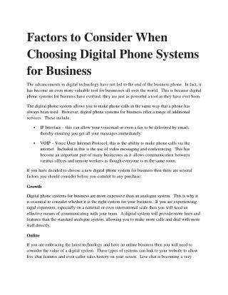 Factors to Consider When Choosing Digital Phone Systems for Business