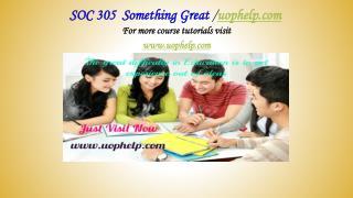 SOC 305  Something Great /uophelp.com