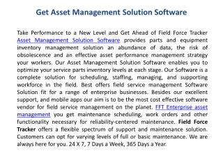 Get Asset Management Solution Software