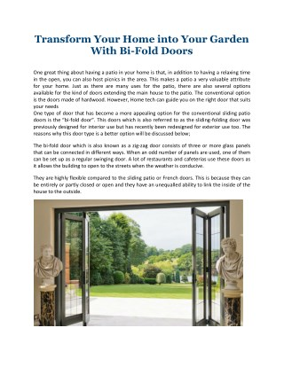 Transform Your Home into Your Garden With Bi-Fold Doors