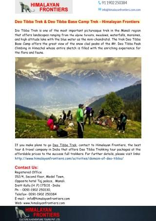 Deo Tibba Trek & Deo Tibba Base Camp Trek - Himalayan Frontiers