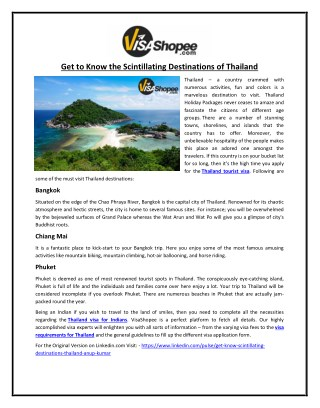 Get to Know the Scintillating Destinations of Thailand