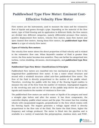Paddlewheel Liquid Flow Meter : Proteus Industries