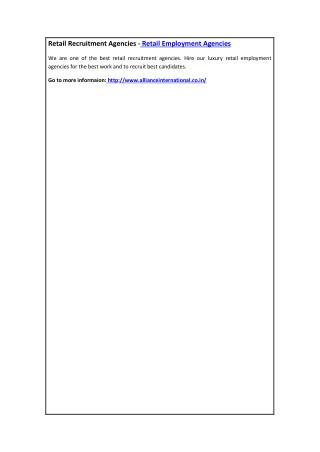 Retail Recruitment Agencies - Retail Employment Agencies