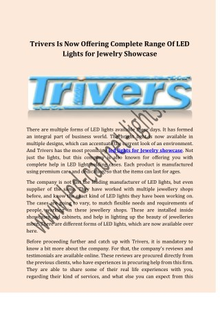 Trivers Is Now Offering Complete Range Of LED Lights for Jewelry Showcase