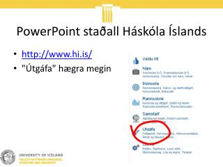 PowerPoint sta all H sk la  slands
