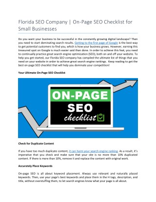 Florida SEO Company | On-Page SEO Checklist for Small Businesses