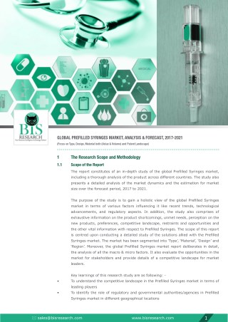 Global Prefilled Syringes Market Analysis 2017-2021