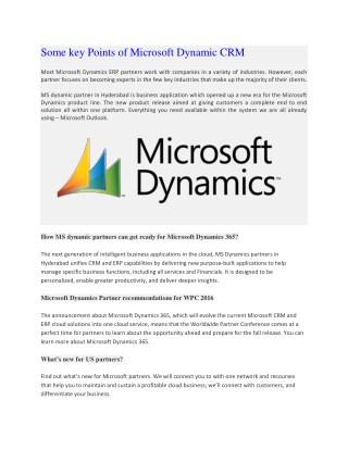 Some key Points of Microsoft Dynamic CRM
