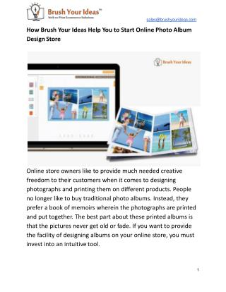 How Brush Your Ideas Help You to Start Online Photo  Album Design Store