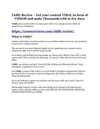 Vidify review and Exclusive $26,400 Bonus AMAZING!