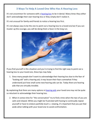 3 Ways To Help A Loved One Who Has A Hearing Loss