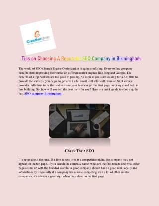 Tips on Choosing A Reputable SEO Company in Birmingham